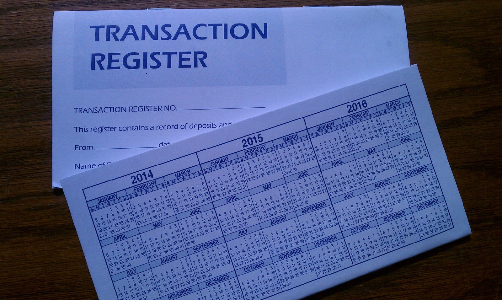 5 Checkbook Transaction Registers 2014-2015-2016 Calendars