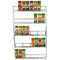 Andrew James Herb and Spice Rack - Large Chrome Kitchen Shelf Organiser for Jars or Packets - Racks can be Wall Mounted or Cupboard Door Fitting (Fixings Included)