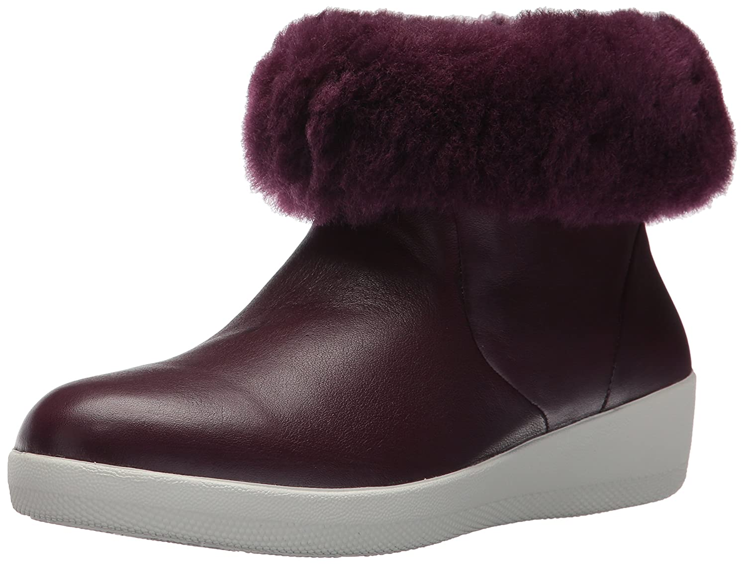 FitFlop Women's Skatebootie Leather Shearling Ankle Boot B0764G7KYG 6 B(M) US|Deep Plum