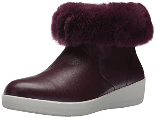 9e5c96c84235 FitFlop Womens Deep Plum Purple Leather Skatebootie Boots  Amazon.co ...