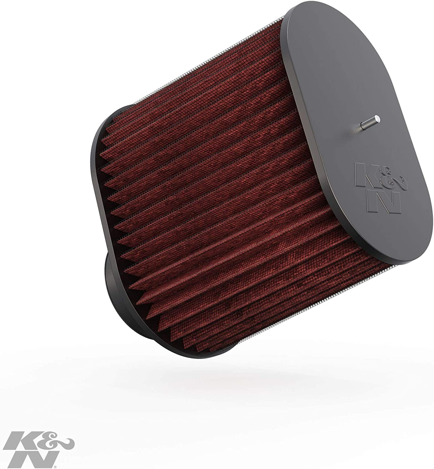 K&N Universal Clamp-On Air Filter: High Performance, Premium, Replacement Engine Filter: Flange Diameter: 4 In, Filter Height: 8.9375 In, Flange Length: 1.875 In, Shape: Oval Straight, RC-5102,Heather Red