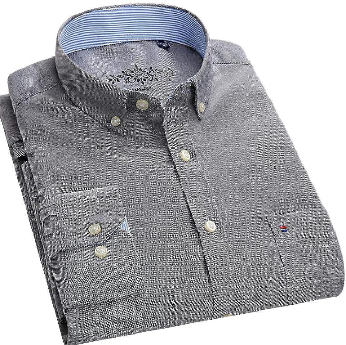 Joe Wenko Mens Casual Striped Plaid Long Sleeve Oxford Button Down Shirts