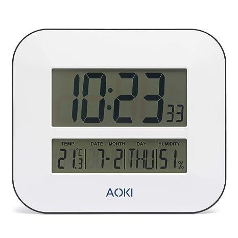 Aoki Reloj de Pared Digital LCD con Pantalla LCD de Gran tamaño, silencioso, Funciona