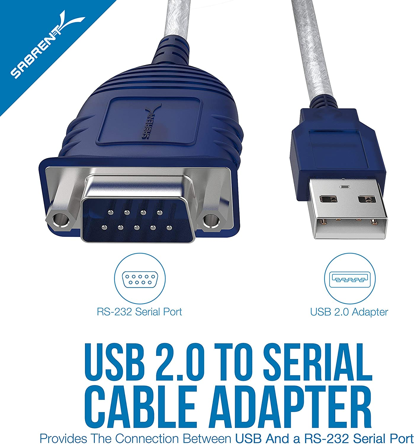 9-Pin Hexnuts, Renewed Windows 10//8.1//8//7//VISTA//XP, Mac OS X 10.6 and Above DB-9 RS-232 Converter Cable Prolific Chipset CB-DB9P Sabrent USB 2.0 to Serial 2.5 Feet