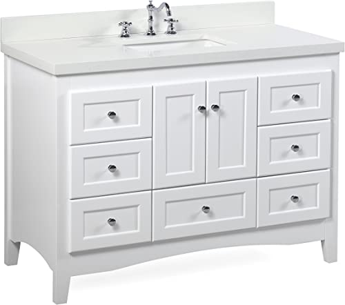 Abbey 48-inch White Bathroom Vanity Quartz White Includes a White Cabinet, Quartz Countertop, Soft Close Drawers and Doors, and Rectangular Ceramic Sink
