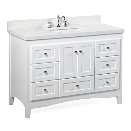 Abbey 48 Inch White Bathroom Vanity (Quartz/White): Includes A White