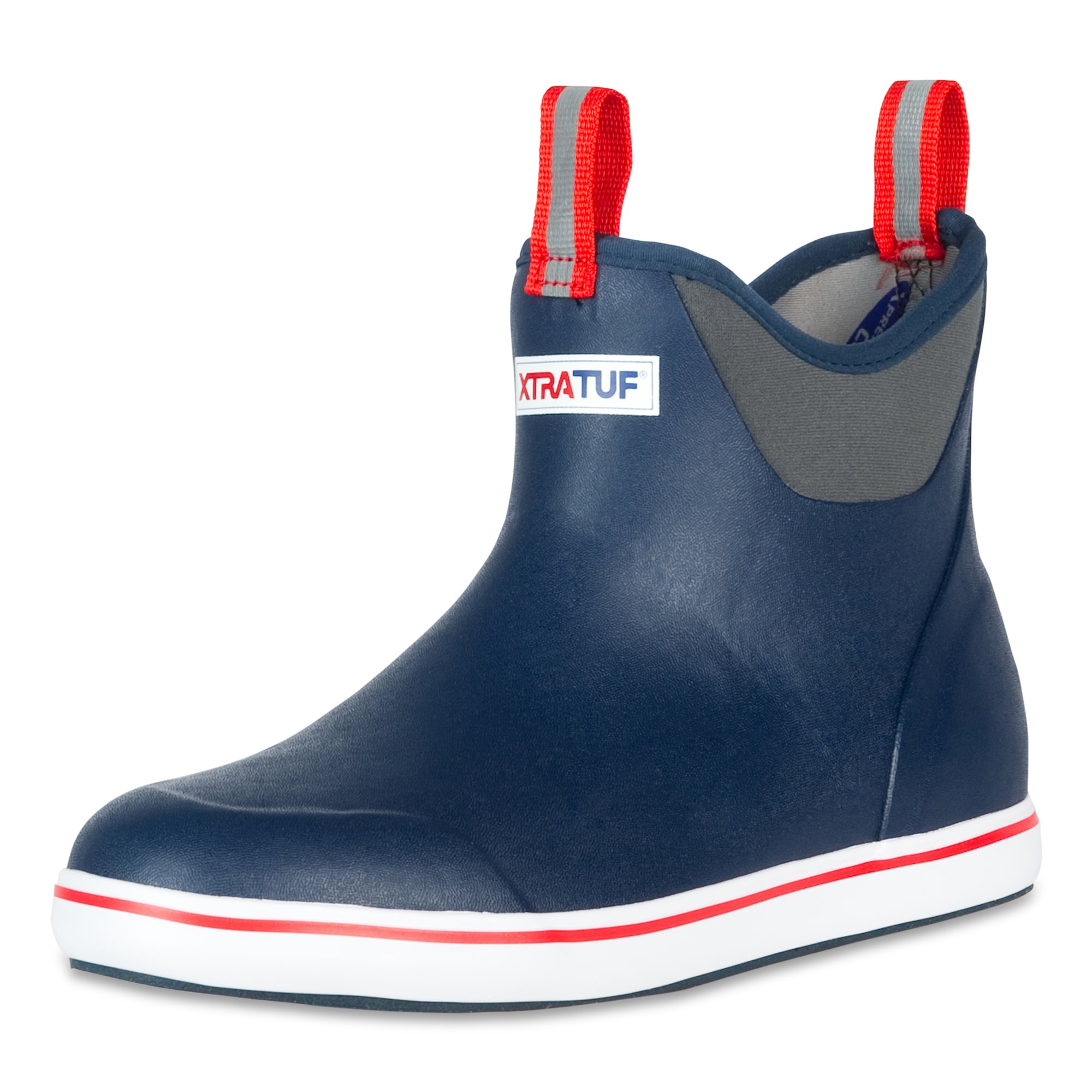 Xtratuf 22733-NVY-100 Performance Series 6'' Men's Full Rubber Ankle Deck Boots, Navy & Red (22733)