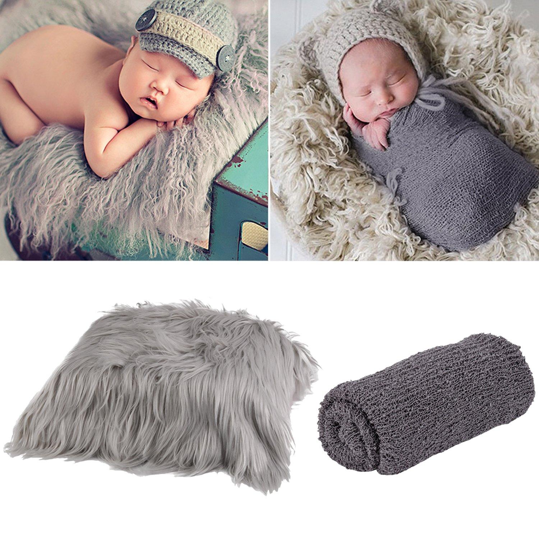 Aniwon 2Pcs Baby Photo Props Long Ripple Wraps DIY Blanket Newborn Wraps Photography Mat for Baby Boys and Girls (Grey & Dark Grey)