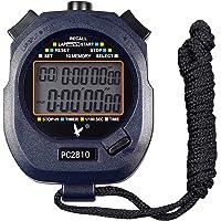 caleqi Digital profesional Handheld LCD cronógrafo deportivo cronómetro, two-row 10recuerdos regazo contador correr temporizador.