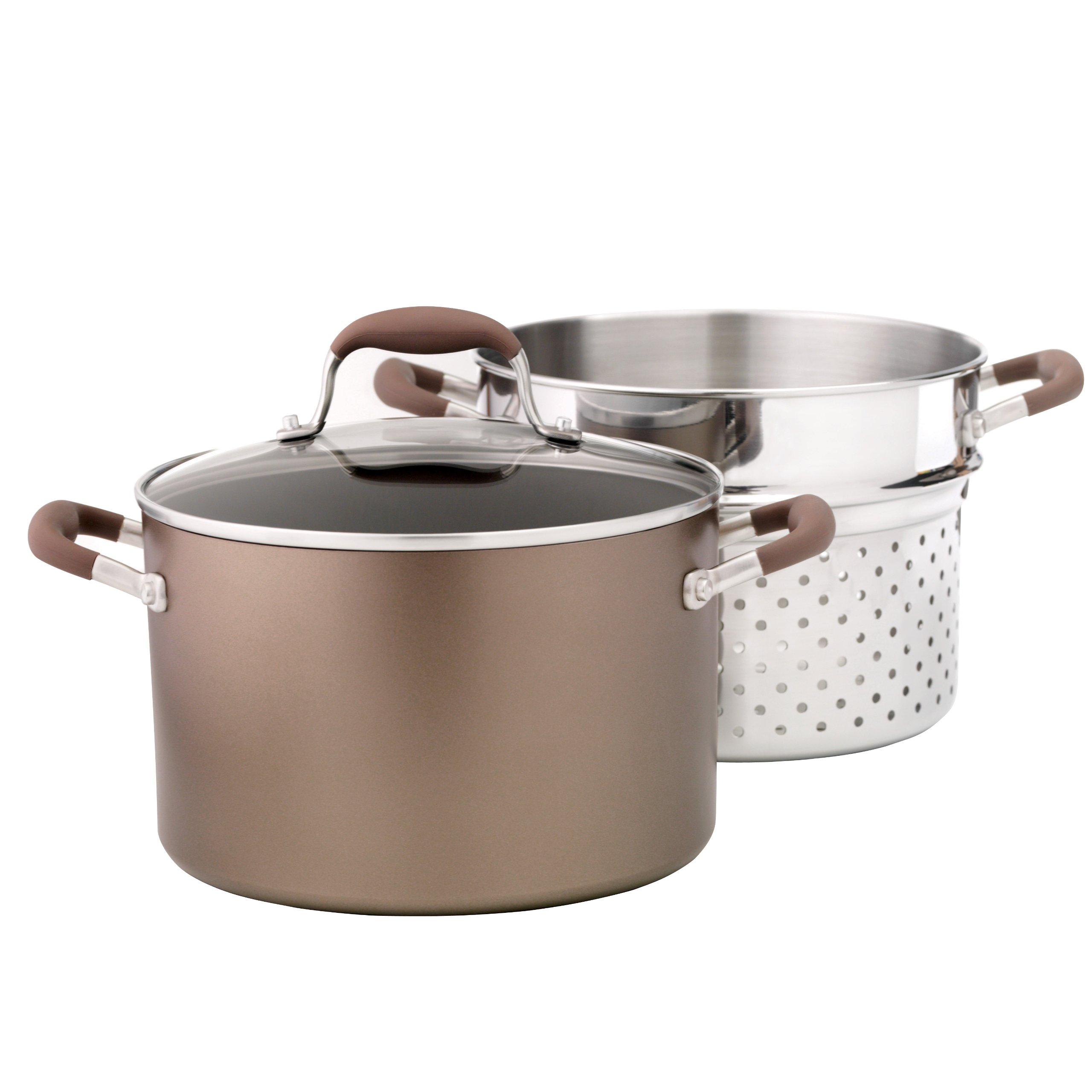 Anolon Advanced Bronze Hard Anodized Nonstick 7-Quart Covered Stockpot and Stainless Steel Steamer/Pasta Insert