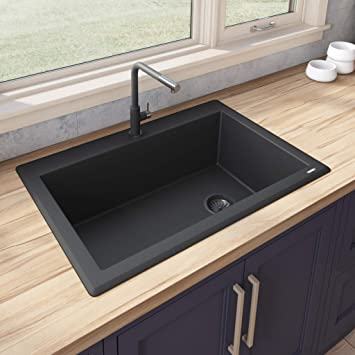 Ruvati 33 X 22 Inch Drop In Topmount Granite Composite Single Bowl Kitchen Sink Midnight Black Rvg1033bk