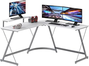 SHW Vista L-Shape Desk with Monitor Stand, White