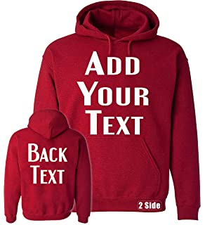 TEEAMORE Men Women Custom Hoodie, Add Your Text, Design Your Own, Front and