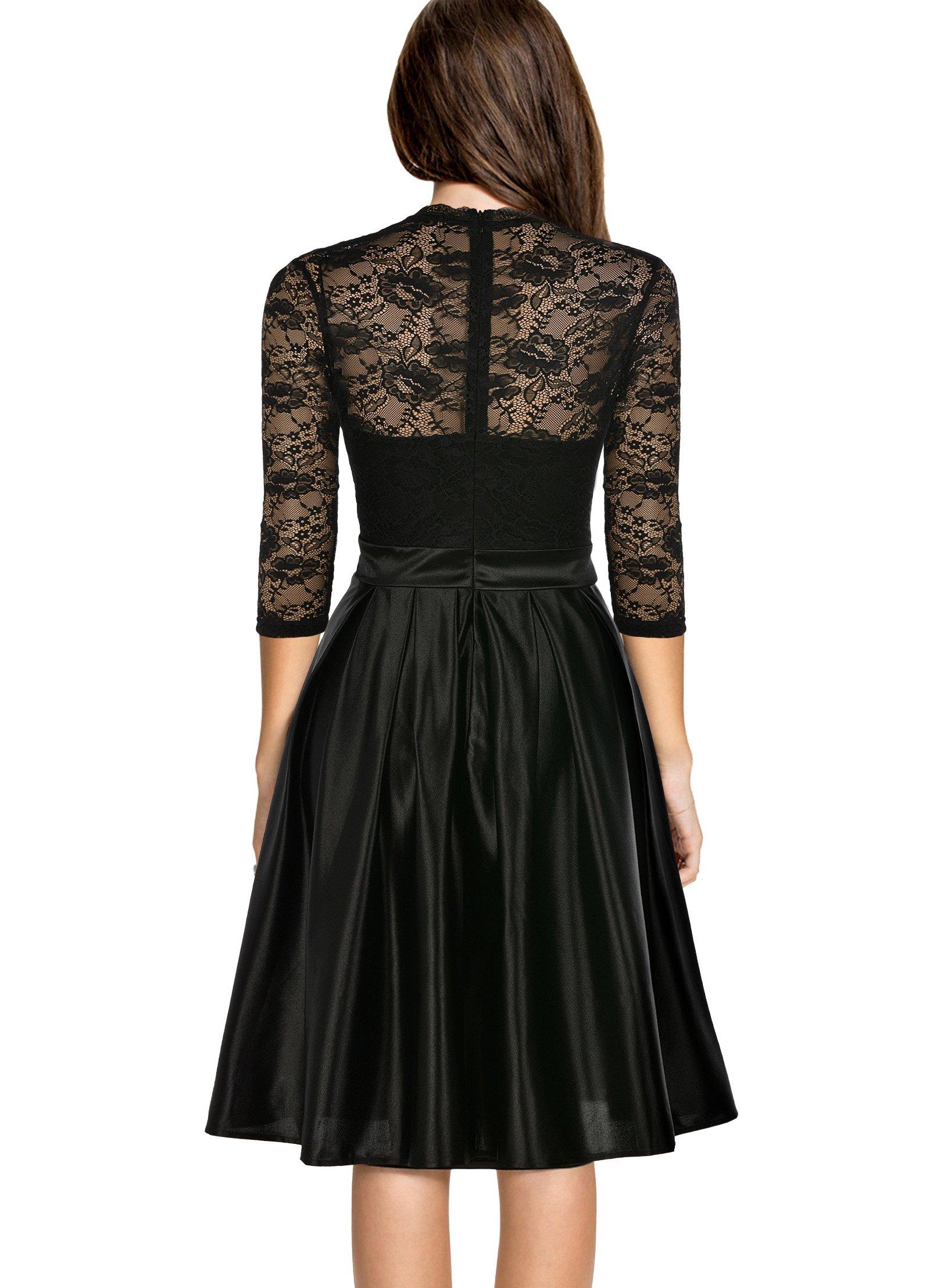 Mmondschein Women Vintage 1930s Style 3/4 Sleeve Black Lace A-line Party Dress Black L by Mmondschein (Image #2)