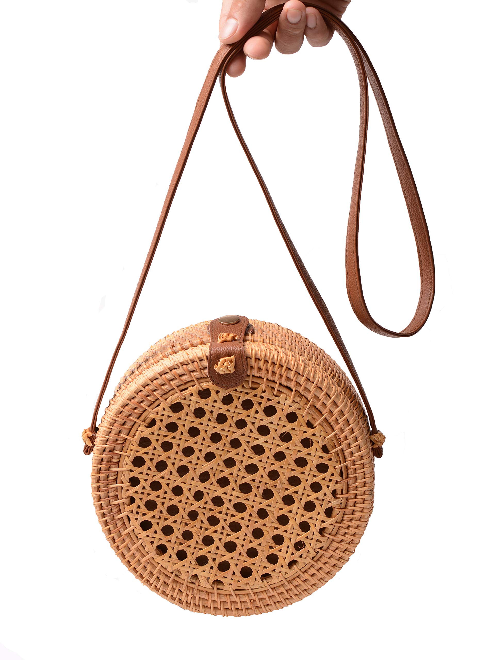 Handwoven Round Rattan Bag Shoulder Leather Straps Natural Chic Hand Gyryp (Leather buttons(grid))