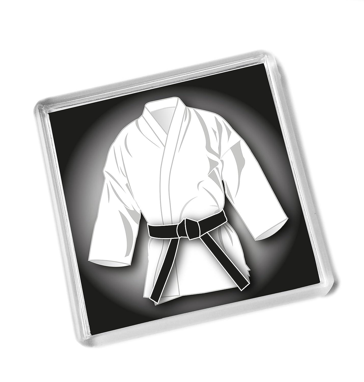 Black Belt WHITE GI gift FRIDGE MAGNET, Karate, Kickboxing, Judo, Ju Jitsu, grading pass gift 58mm x 58mm Purpleproducts