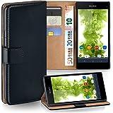 OneFlow Tasche für Sony Xperia Z1 Compact Hülle Cover mit Kartenfächern | Flip Case Etui Handyhülle zum Aufklappen | Handytasche Schutzhülle Zubehör Handy Schutz Bumper in Schwarz