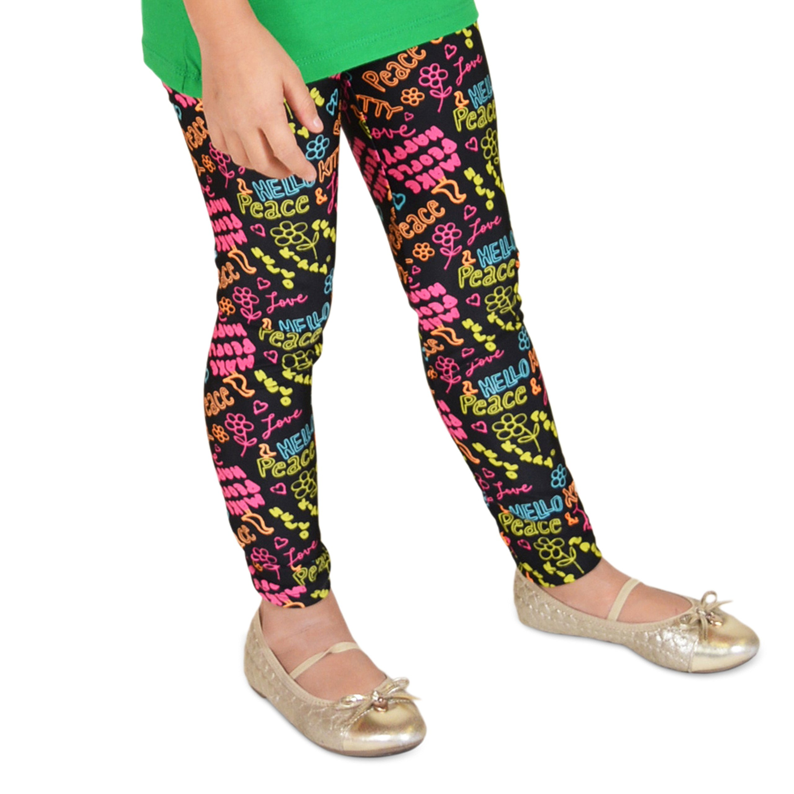 Stretch is Comfort Girl's Hello Love Peace Print Leggings X-Large