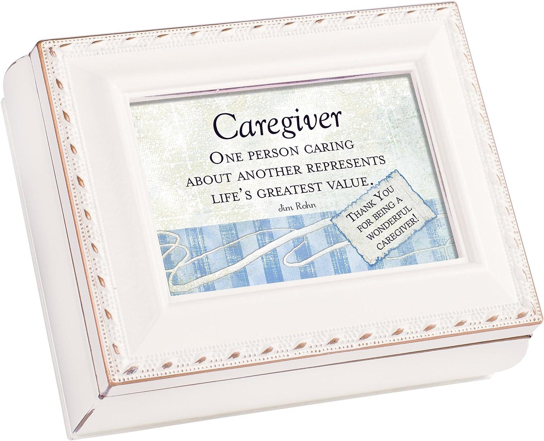 Cottage Garden Caregiver Wonderful Ivory Rope Trim 4.5 x 3.5 Tiny Square Jewelry Keepsake Box