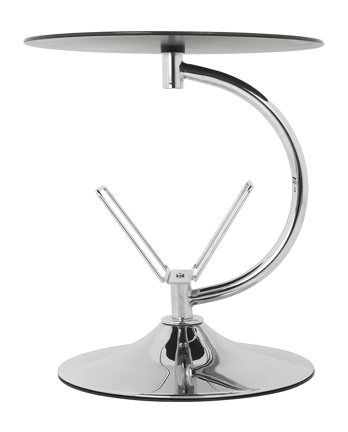 Set of 2 AVF INC. AVF T32-A Black Glass /& Chrome Square Side Table//Lamp Table//End Tables
