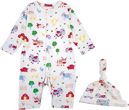 Piccalilly - Juego de pijama y gorro de algodón orgánico unisex con diseño de granja sin pies Blanco multicolor 0 meses: Amazon.es: Ropa y accesorios
