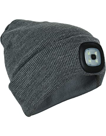 1488d41e691 Unisex Knit Beanie Hat with 4 LED Torch Light Head Lamp One Size Outdoors  Camping Fishing