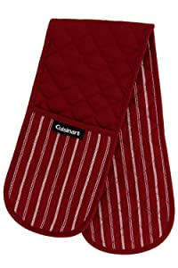 "Cuisinart Quilted Heat Resistant Double Oven Mitt/Glove, Twill Stripe, 7.5"" x 35"", Great for Cooking, Baking, and Handling Hot Pots & Pans- Red Dahlia"