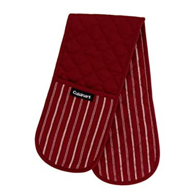 Cuisinart Quilted Double Oven Mitt, Twill Stripe, 7.5 x 35 inches - Heat Resistant Oven Gloves to Protect Hands and Arms - Great Set for Cooking, Baking, and Handling Hot Pots and Pans- Red Dahlia