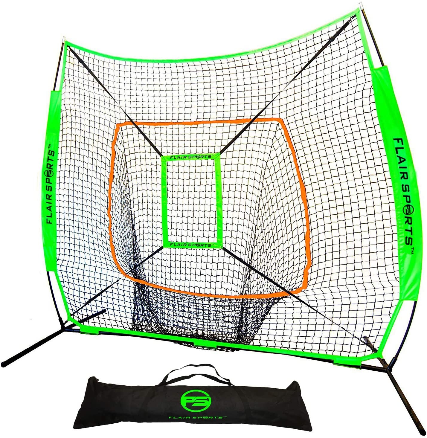 Flair Sports Baseball Softball Net for Hitting Pitching Heavy Duty 7×7 Pro Series Indoor Outdoor Training Net Bow Frame BONUS Strike Zone Included