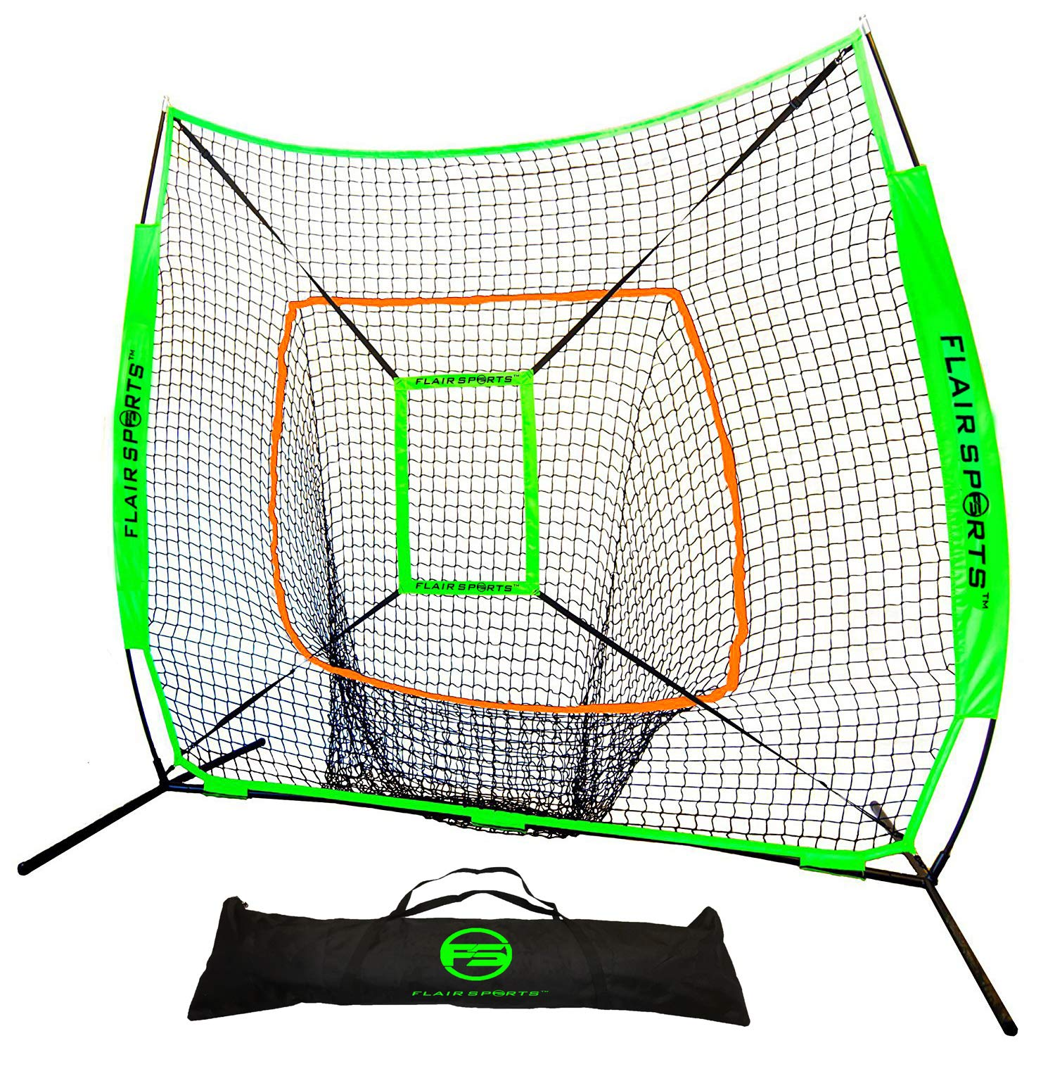 Flair Sports Baseball & Softball Net for Hitting & Pitching Heavy Duty 7x7 Pro Series | Indoor & Outdoor Training Net | Bow Frame + Bonus Strike Zone Included (Neon Green, Neon Orange)