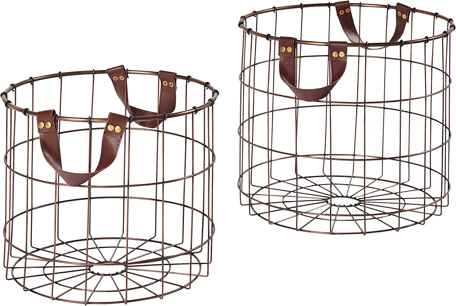 Metal Wire Storage Basket with Faux Leather Handles
