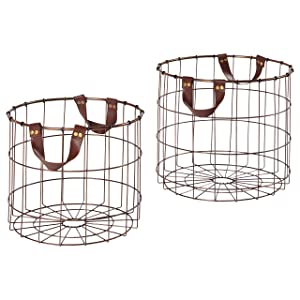 Stone & Beam Modern Metal Metal Baskets, Pack of 2, Brown