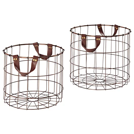 Stone & Beam Modern Round Metal Wire Storage Basket