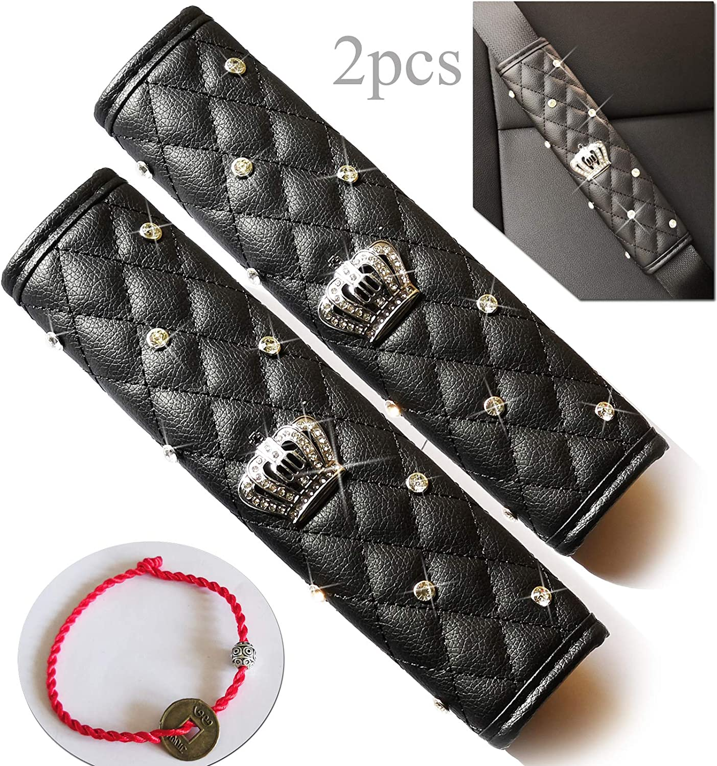 Black Hai Hong Car Seat Belt Pads Cover 2 Packs Soft Leather Crystal Crown Shoulder Pads for All Car Owners for a More Comfortable Driving with A Handmade Silver Coin Good Luck Bracelet for Free