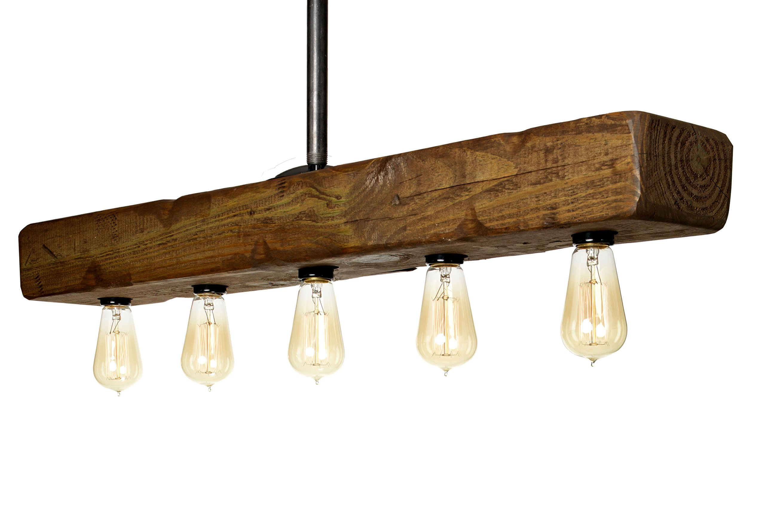 Farmhouse Style Distressed Wood Light Fixture - Recessed Wooden Beam Rustic Decor Chandelier Lighting (5 Light) by Barrister & Joiner Lighting