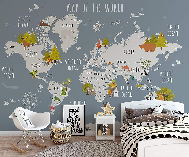 Amazon Com Murwall Kids World Map Wallpaper Nursery Animal Map