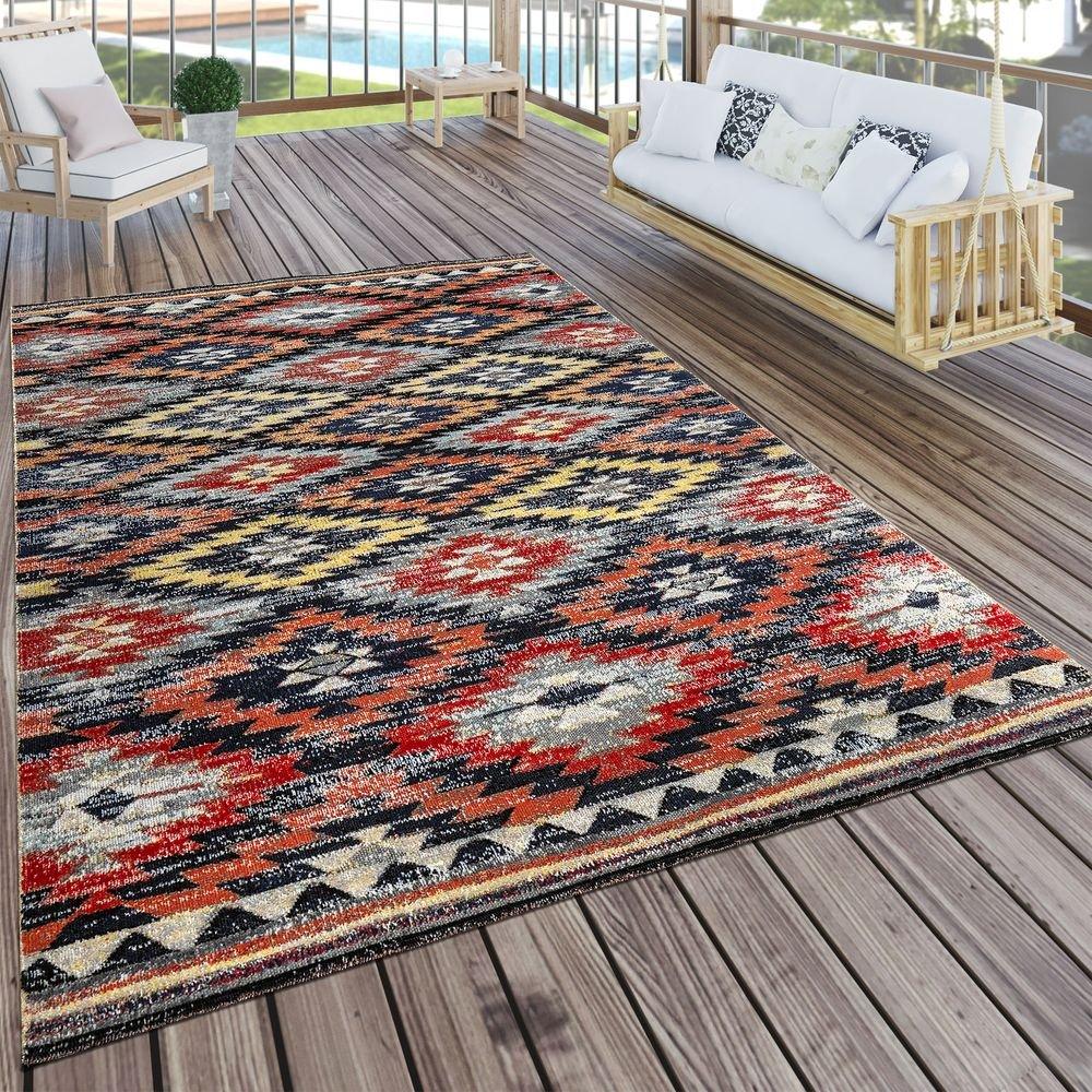 Paco Home In- & Outdoor Teppich Modern Zickzack Muster Terrassen Teppich Wetterfest Bunt, Grösse:160x220 cm