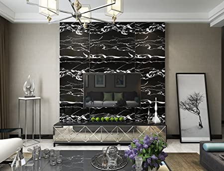 . Realsun Peel and Stick PVC Wallpaper for Living Room Black Marble