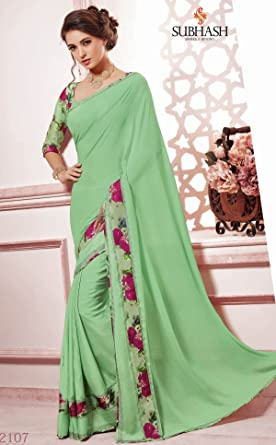 08509fd03 SUBHASH SWAROVSKI DESIGNER SAREE-Green-SUT12107-VO-Synthetic Georgette   Amazon.co.uk  Clothing