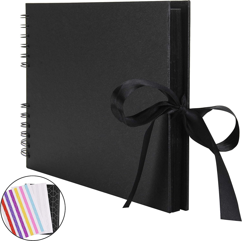 RECUTMS Álbum de Fotos para álbum de Recortes, 80 páginas, DIY Papel para Manualidades, 31,75 x 20,32 cm, para Libro de Invitados, Boda(Negro)