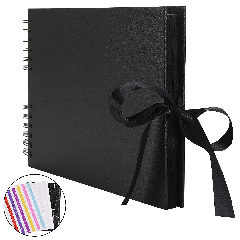 QC Life Scrapbook Photo Album Album di 80 Pagine a Mano DIY Craft Paper, 31,5 cm l x 21 cm W per Memory Book Libro degli Ospiti per Matrimonio, Anniversario, San Valentino Regali