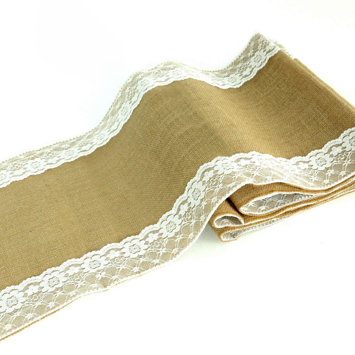 (2, 30cm x 180cm) - kingleder 30cm x 180cm Burlap Table Runner White Lace Trim Jute for Country Rustic Wedding Party Decorations(30cm x 180cm,2 PACK) 12\  B071J9ZB43