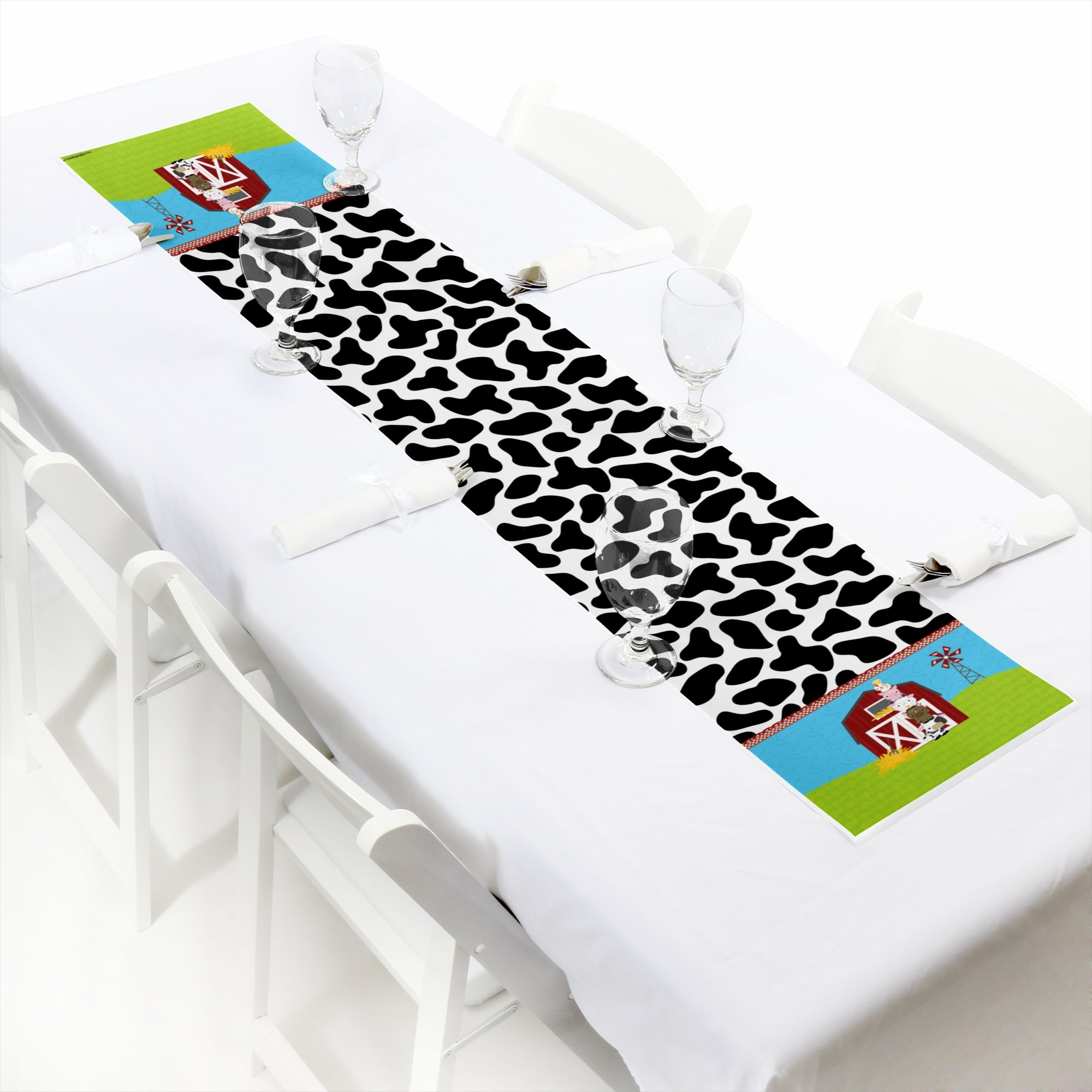 Big Dot of Happiness Farm Animals - Petite Baby Shower or Birthday Party Paper Table Runner - 12'' x 60''