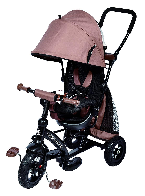 Ricco Enfants Facile Dirige Tricycle Poussette Poussette avec Tissu Oxford Pédale et Assise réversible Xg6019Marron Chocolat