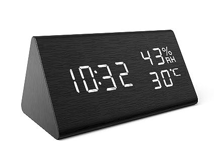 Amazon.com: AMIR Reloj despertador, de madera, digital ...