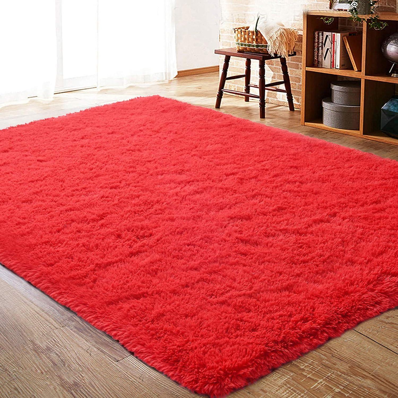 ISEAU Fluffy Rug Carpets Soft Shaggy Area Rug Indoor Floor Rugs for Kids Room Fuzzy Carpet Comfy Cute Nursery Rug Bedside Rug for Boys Girls Bedroom Living Room Home Decor Mat, 4ft x 5.9ft, Red
