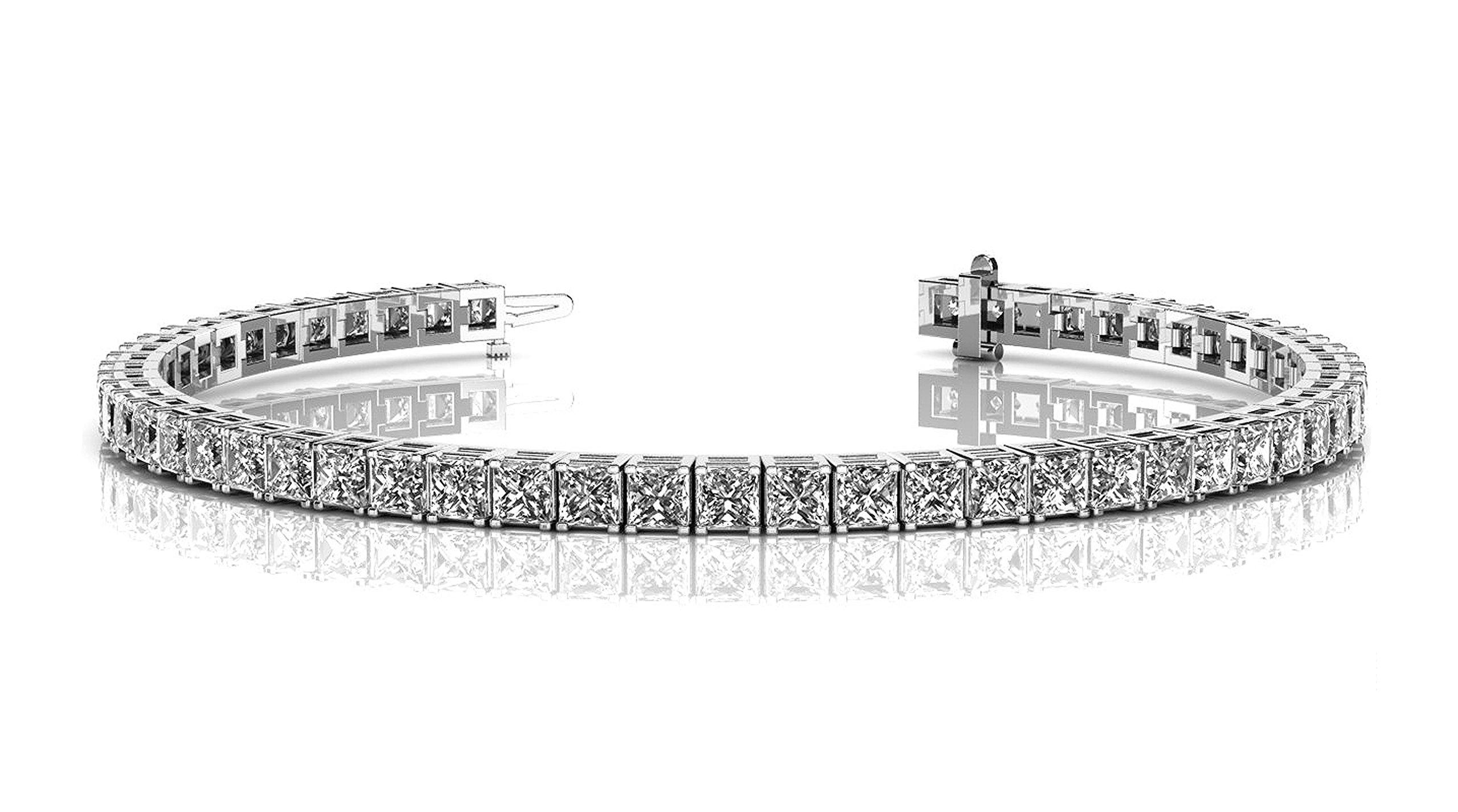 Cate & Chloe Leila 18k Tennis Bracelet, Women's 18k White Gold Plated Tennis Bracelet w/Cubic Zirconia Square Crystals, 7.5'' Sparkling Stone Bracelet for Women, Silver CZ Wrist Bracelets, MSRP - $170