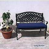Lazy Susan Furniture - Jasmine Metal Garden Bench, Antique Bronze (Blue cushion)