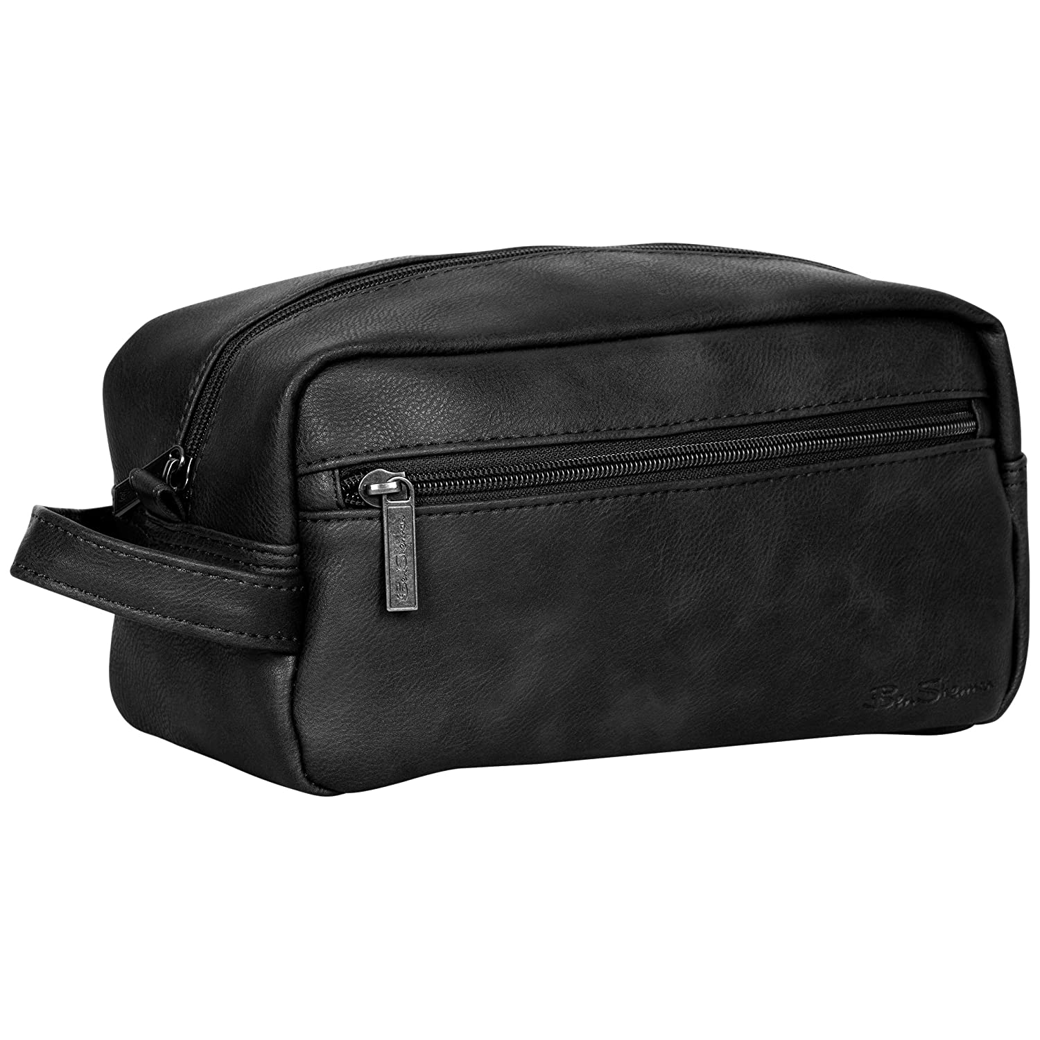 Ben Sherman Noak Hill Collection Vegan Leather Toiletry Travel Kit, Black, Single Compartment