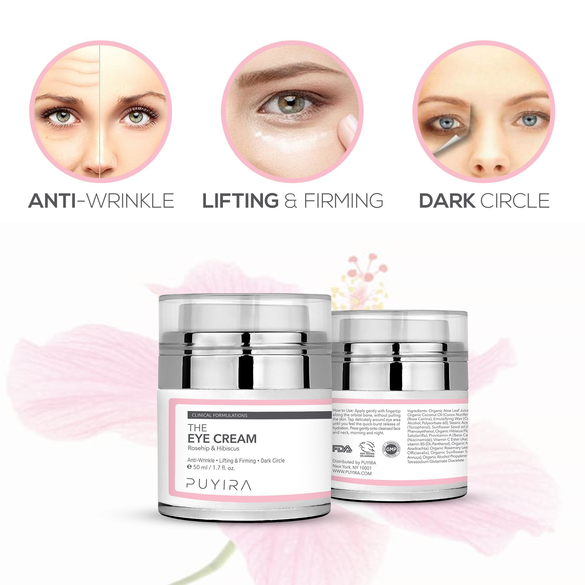 PUYIRA Rosehip Eye Cream Moisturizer , 1.7 fl.oz - Reducing Puffiness and Bags, Erasing Fine Lines and Wrinkles, Brightening Dark Circles by PUYIRA (Image #6)